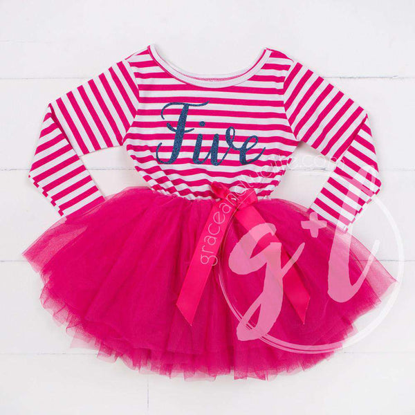 "5th Birthday Dress Blue Script ""FIVE"" Magenta Striped Long Sleeves - Grace and Lucille"