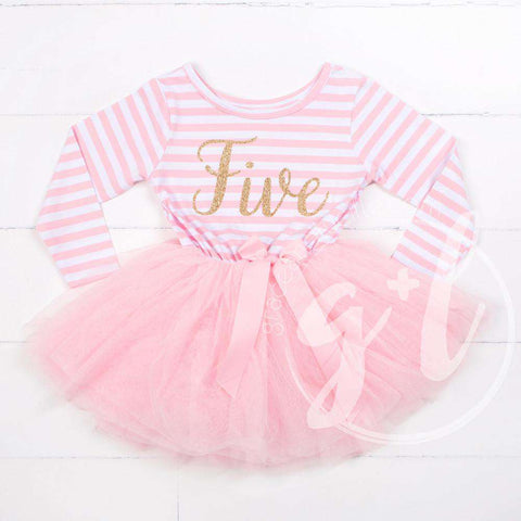 5th Birthday Dress Gold Script