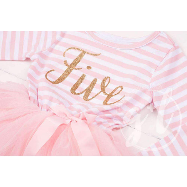 "5th Birthday Dress Gold Script ""FIVE"" Pink Striped Long Sleeves - Grace and Lucille"