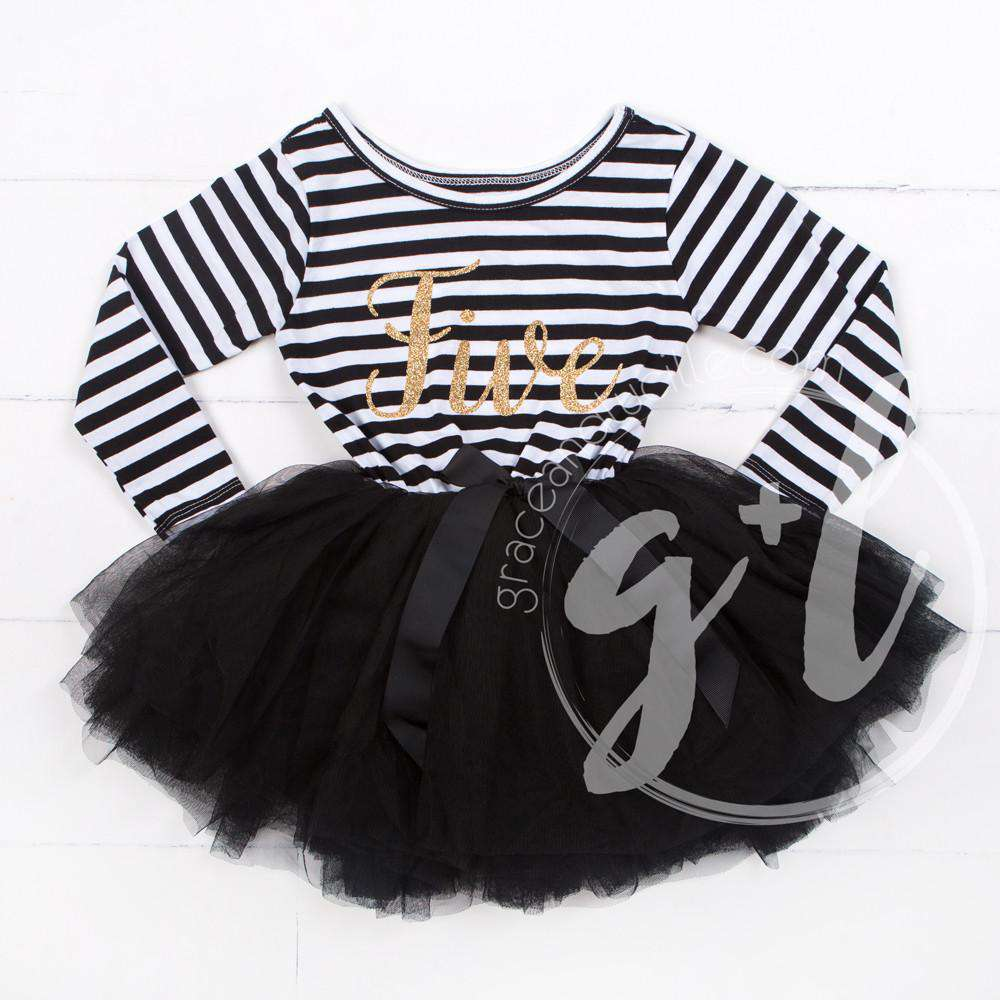 "5th Birthday Dress Gold Script ""FIVE"" Black Striped Long Sleeves - Grace and Lucille"