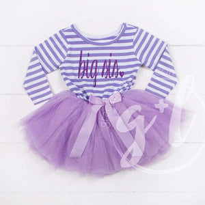 Big Sis Dress Purple Script Purple Striped Sleeveless - Grace and Lucille