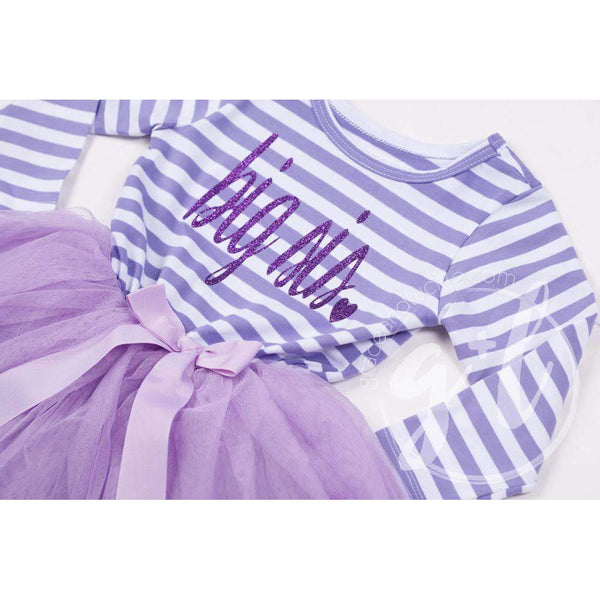 Big Sis Dress Purple Script Purple Striped Long Sleeves - Grace and Lucille