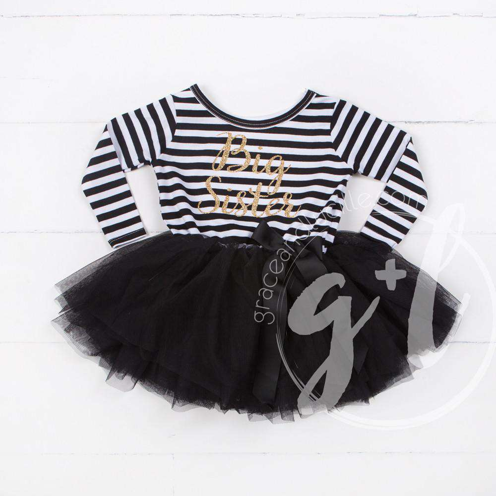 Big Sister Dress Gold Script Black Striped Long Sleeves - Grace and Lucille