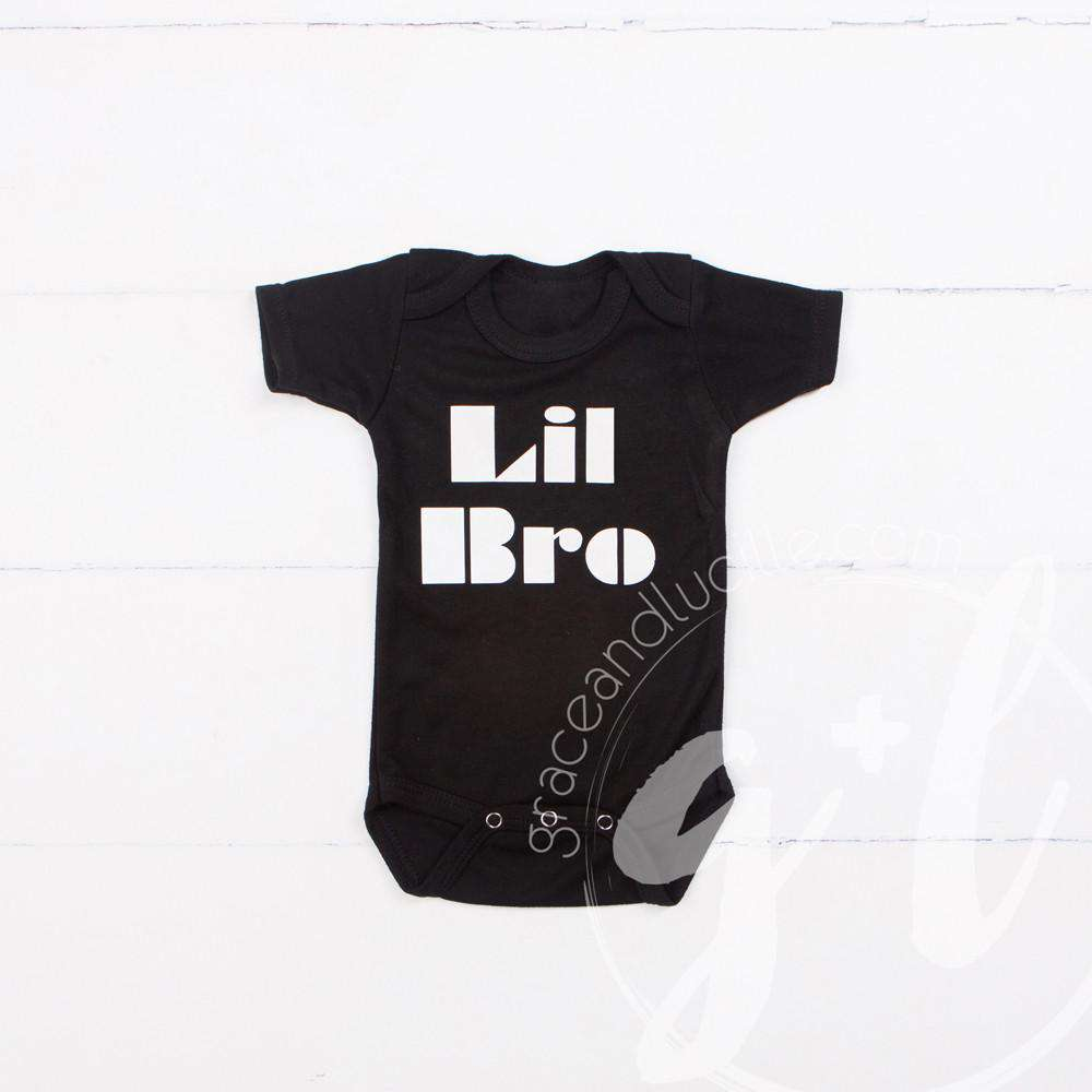 "Black Onesie with White ""LIL BRO"" - Grace and Lucille"