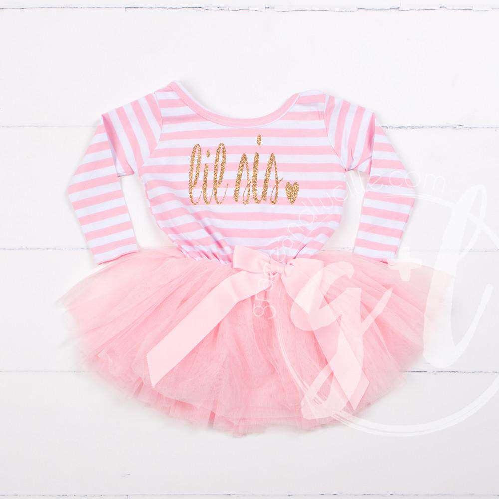 Lil' Sis Dress Gold Script Pink Striped Long Sleeves - Grace and Lucille