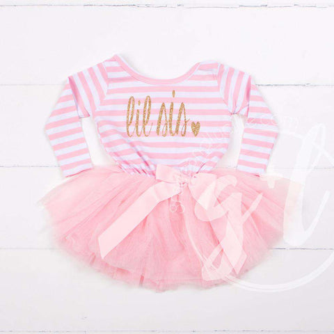 Lil' Sis Dress Gold Script Pink Striped Long Sleeves