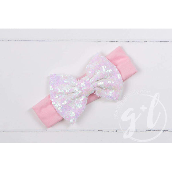 Opalescent Sequined Bow on Solid Pink Headband - Grace and Lucille