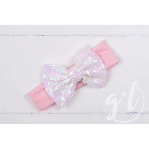 Opalescent Sequined Bow on Solid Pink Headband