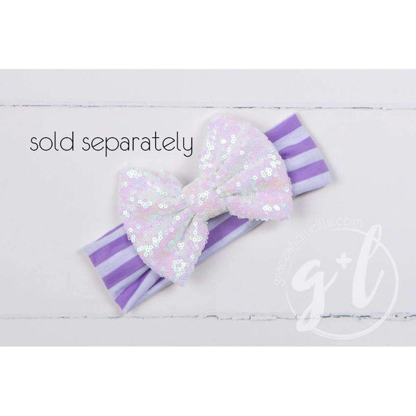 "5th Birthday Dress Purple Script ""FIVE"" Purple Striped Long Sleeves - Grace and Lucille"