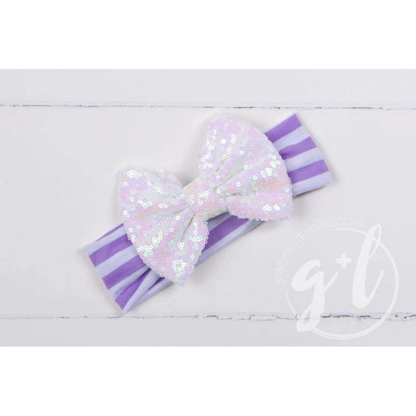 Opalescent Sequined Bow on Purple Striped Headband - Grace and Lucille