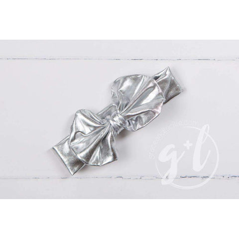 Silver Lame Oversized Bow Headband