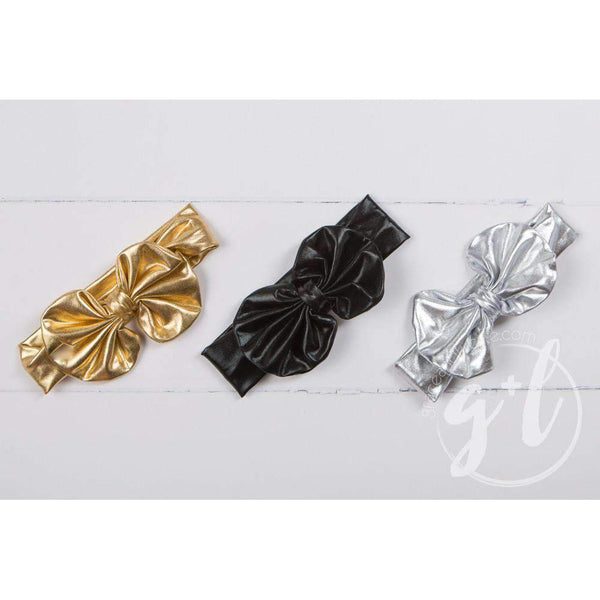 Gold Lame Oversized Bow Headband - Grace and Lucille