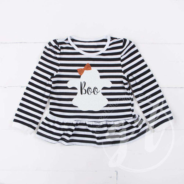 "Black Stripe ""BOO"" Ghost Ruffle Hem Shirt, Long Sleeve - Grace and Lucille"