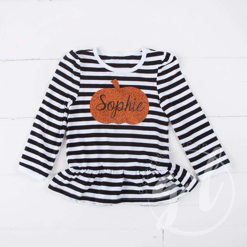 Black Stripe Personalized Pumpkin Ruffle Hem Shirt, Long Sleeve - Grace and Lucille