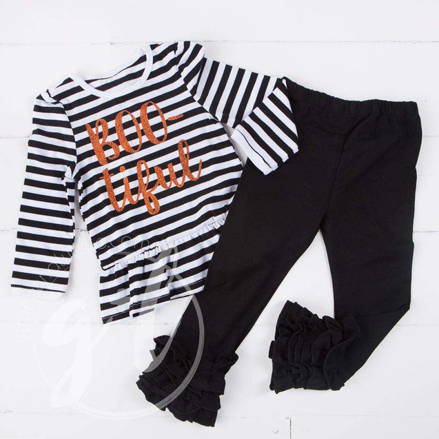 "Black Stripe ""BOO-tiful"" Ruffle Hem Shirt, Long Sleeve - Grace and Lucille"