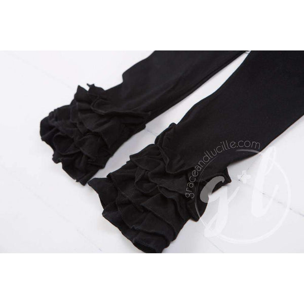 Ruffled Hem Leggings, Classic Black - Grace and Lucille