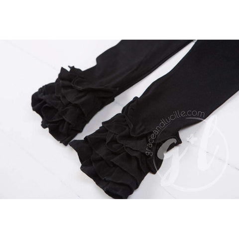 Ruffled Hem Leggings, Classic Black