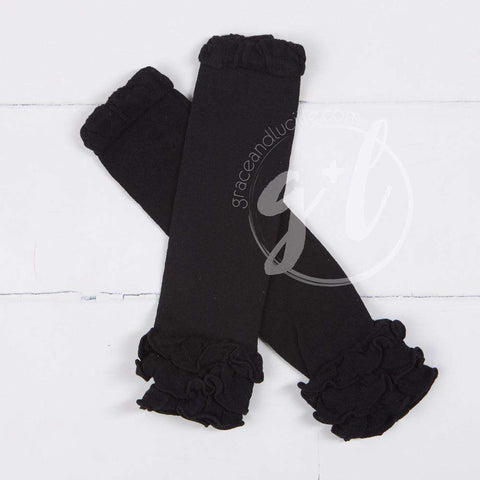 Classic Black Ruffled Hem Leg Warmers