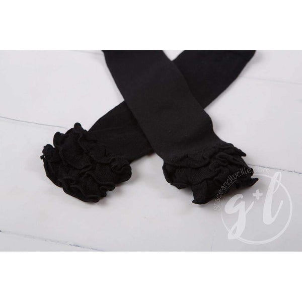 Classic Black Ruffled Hem Leg Warmers - Grace and Lucille