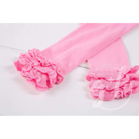 Solid Pink Ruffled Hem Leg Warmers
