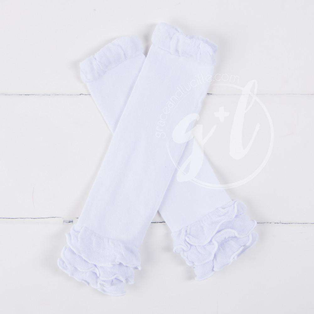 Pure White Ruffled Hem Leg Warmers - Grace and Lucille