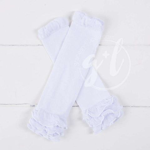 Pure White Ruffled Hem Leg Warmers