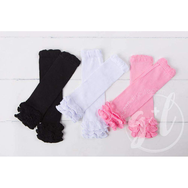 Solid Pink Ruffled Hem Leg Warmers - Grace and Lucille