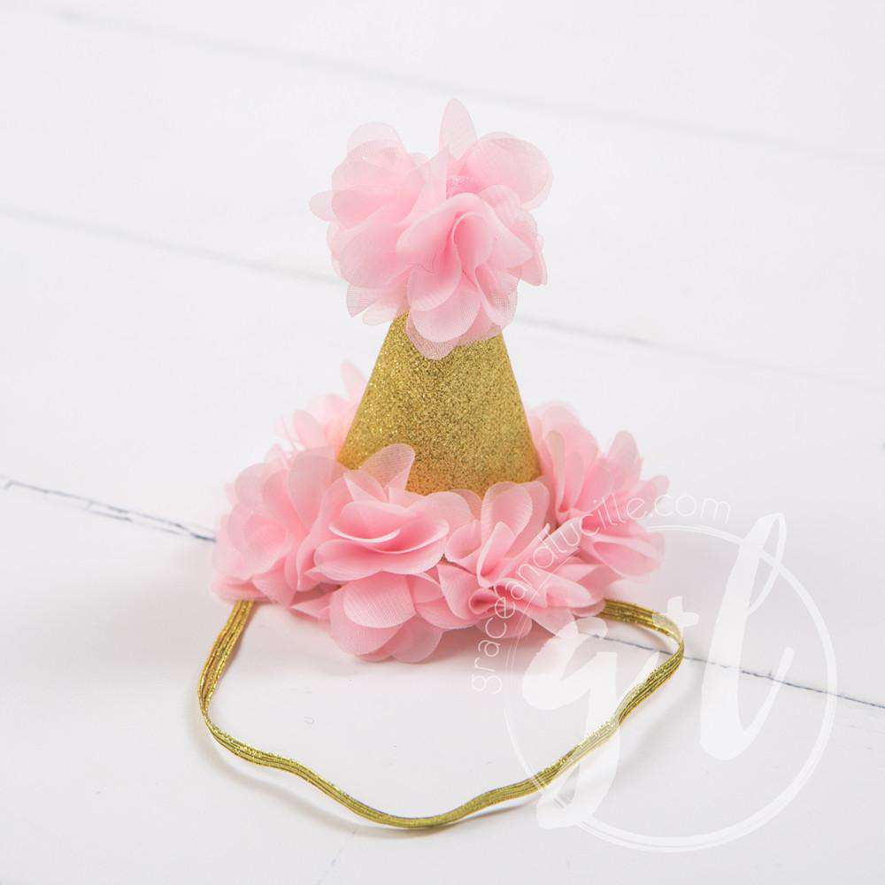 Princess Party Hat, Sparkly Gold and Pink