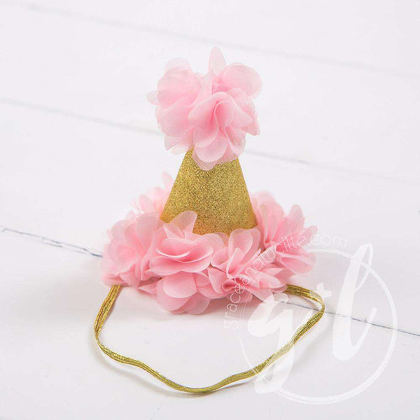 First Birthday Bib Princess Party Hat Set Sparkly Gold And Pink
