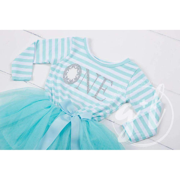 "Winter Wonderland Snowflake Birthday Dress ""HER AGE"" Aqua Striped Long Sleeves - Grace and Lucille"