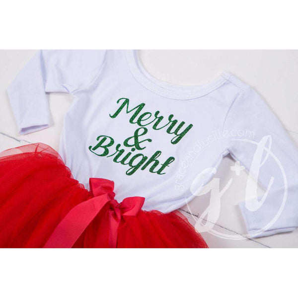 """Merry and Bright"" Christmas Dress Red Tutu, White Long Sleeves - Grace and Lucille"