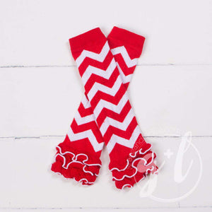 Red & White Chevron Ruffled Hem Leg Warmers - Grace and Lucille