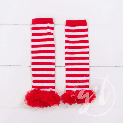 Striped Red & White Ruffled Hem Leg Warmers