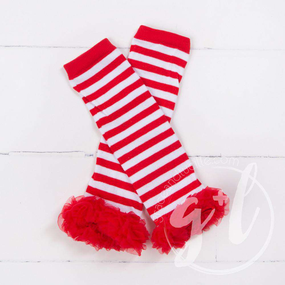 Striped Red & White Ruffled Hem Leg Warmers - Grace and Lucille