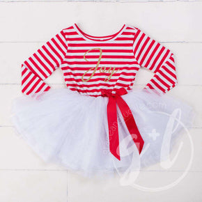 "Christmas ""JOY"" Tutu Dress Red Striped Long Sleeves, Gold JOY - Grace and Lucille"