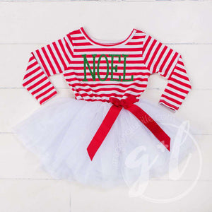 "Christmas ""NOEL"" Dress Red Striped Long Sleeves - Grace and Lucille"