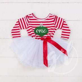 "Christmas Ornament Birthday Dress ""HER AGE"" Red Striped Long Sleeves - Grace and Lucille"