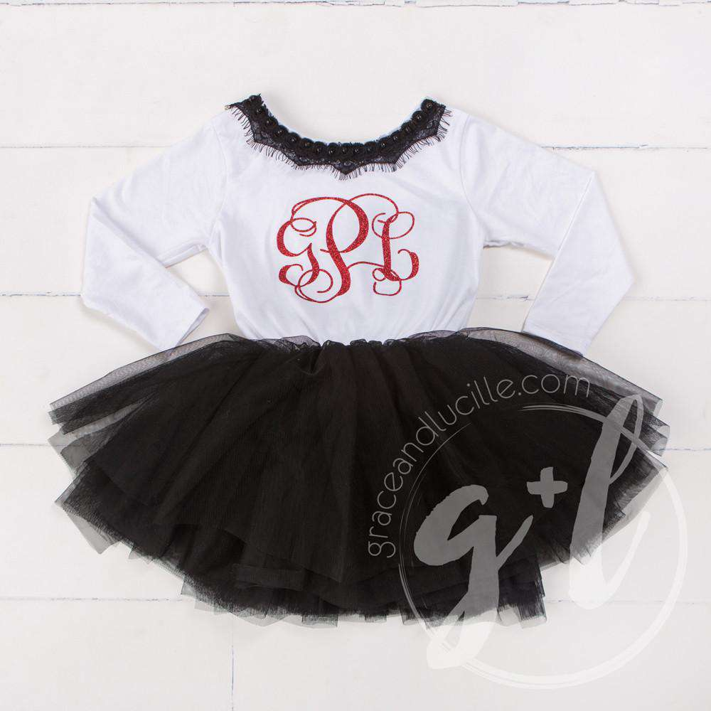 Bejeweled Neck Grand Red Monogram Dress Black Tutu, White Long Sleeves
