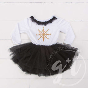 Bejeweled Neck Snowflake Dress Black Tutu, White Long Sleeves - Grace and Lucille