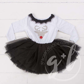 Bejeweled Neck Reindeer Christmas Dress Black Tutu, White Long Sleeves - Grace and Lucille