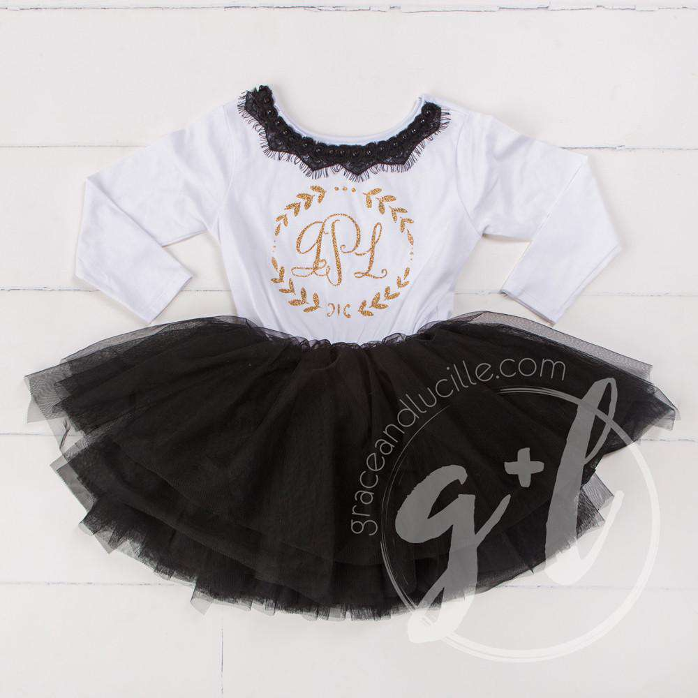 Bejeweled Neck Laurel Wreath Monogram Dress Black Tutu, White Long Sleeves - Grace and Lucille