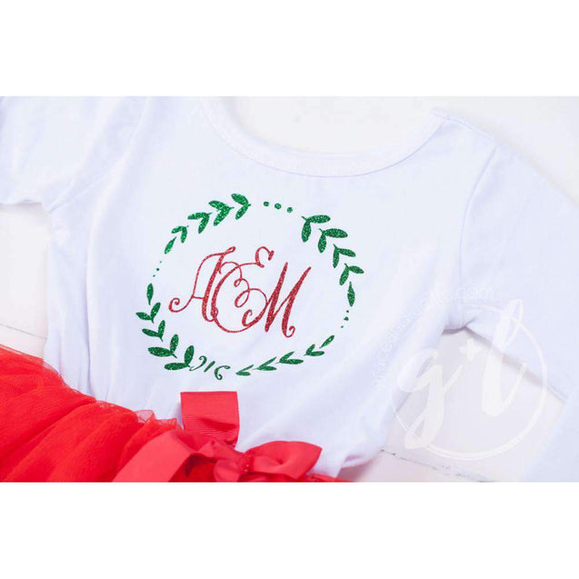 Laurel Wreath Monogram Christmas Dress Red Tutu, White Long Sleeves - Grace and Lucille