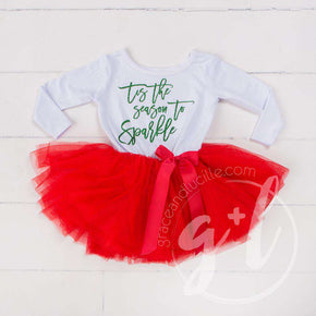 """Tis the Season to Sparkle"" Christmas Dress Red Tutu, White Long Sleeves - Grace and Lucille"
