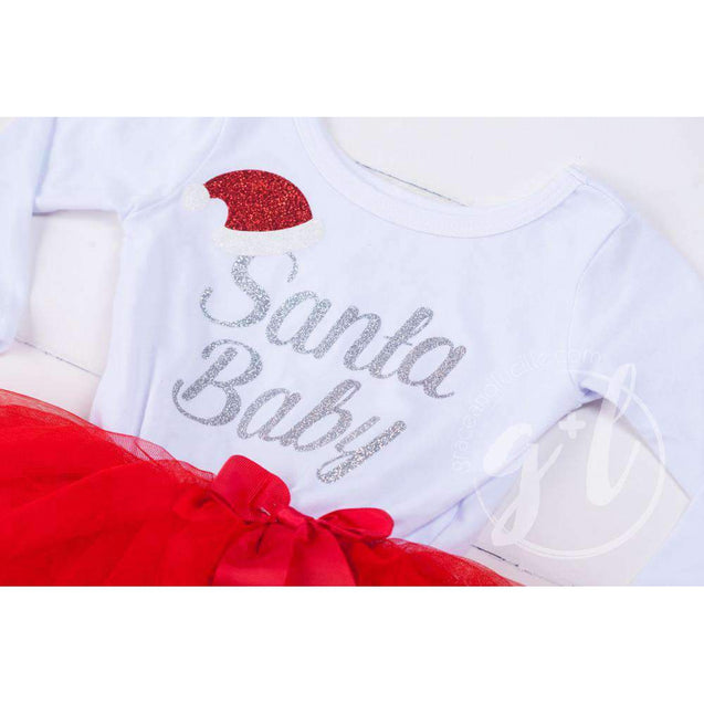 """Santa Baby"" Christmas Dress Red Tutu, White Long Sleeves - Grace and Lucille"