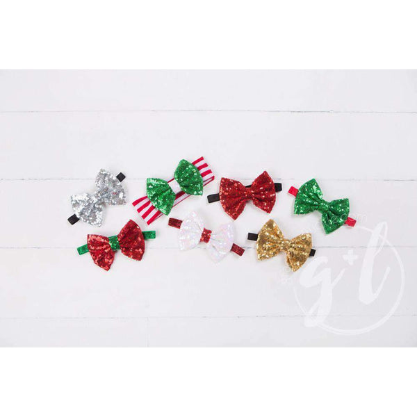 Two-in-One Sequined Bow Headband & Belt, Christmas Green Bow on Red Band - Grace and Lucille