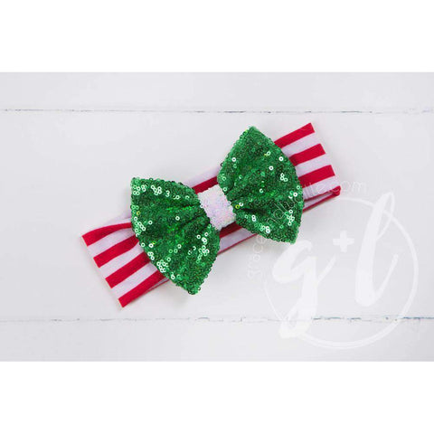 Christmas Green Sequined Bow on Red & White Striped Headband