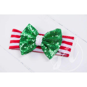 Christmas Green Sequined Bow on Red & White Striped Headband - Grace and Lucille