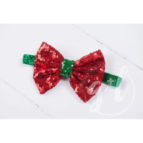 Two-in-One Sequined Bow Headband & Belt, Christmas Red Bow on Green Band