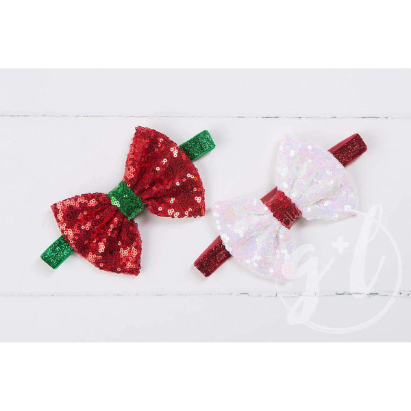 Two-in-One Sequined Bow Headband & Belt, Christmas White Bow on Red Band - Grace and Lucille