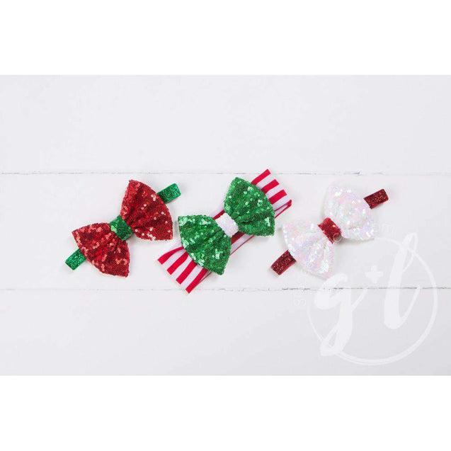 Two-in-One Sequined Bow Headband & Belt, Christmas Red Bow on Green Band - Grace and Lucille